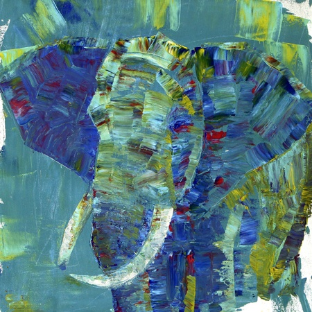 An elephant painted with acrylics on canvas. I painted it Stock Photo
