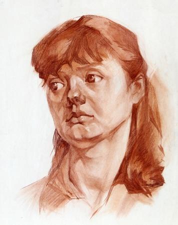 Retrato gráfico de una niña pintada optimistas Foto de archivo - 11569240