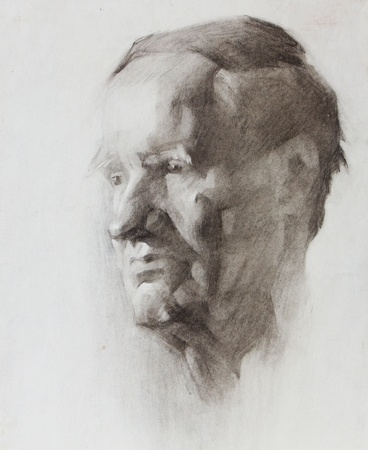 Graphic portrait of a old man painted by pencil photo