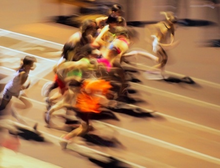 Girls ran out from the start (motion blur). photo