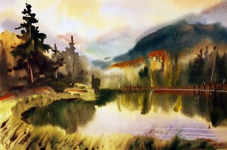水彩で描かれた湖と山の風景