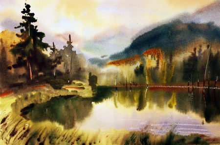 Mountain landscape with lake painted by watercolor Banco de Imagens