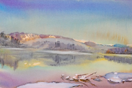 Beautiful winter landscape with mountain river painted by watercolor. Banco de Imagens