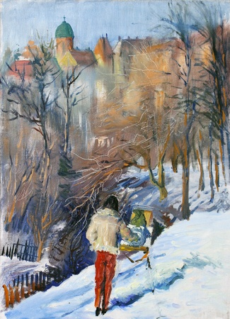 impressive: Beautiful winter landscape painted by oil on canvas with the artist who draws a picture.