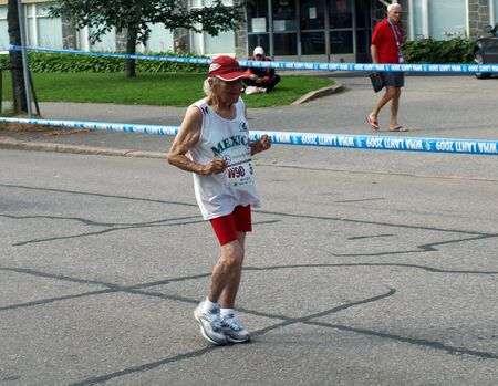 Maria Ramirez De Bañueloson (Mexico) age group 90+ on the 20 kilometers race walk distance on the World Master Athletics Championships on August 3, 2009 in Lahti, Finland.
