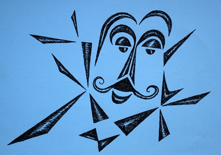 picasso: Graphic drawing , painted by pen. I painted it in Barcelona in 2001. Stock Photo
