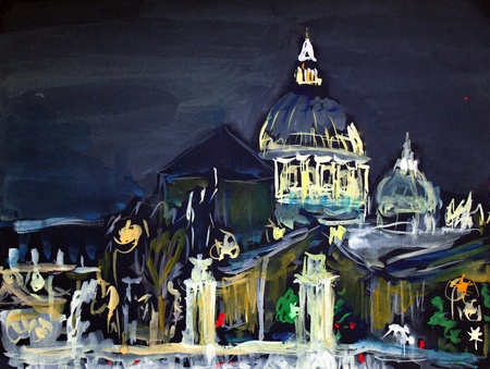 basilica of saint peter: Illustration of the Basilica San Pietro and Ponte Vittorio Emanuele in the night, Vatican, Rome, Italy. I painted it in 2001.