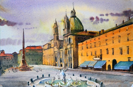 Roman cityscape of the Piazza Navona painted by watercolor.  Stock Photo