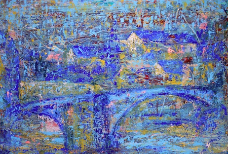 bridge construction: Abstract painting with blue bridge.  I painted this painting with acrylics on canvas.