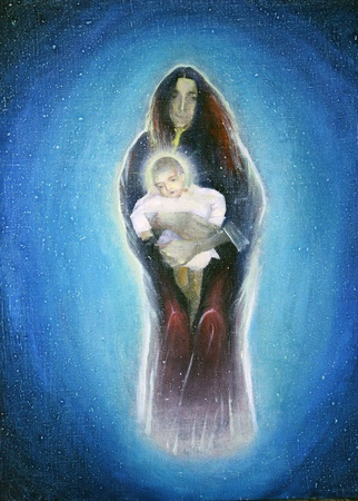 virgin mary: Young Mother and Baby. Painted by Oil Painting On Canvas. Stock Photo