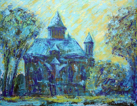 chernivtsi: Armenian Church in the city of Chernivtsi. I painted this painting with acrylics on canvas.