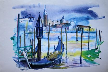 Een zicht op de pier met boten en gebouwen in Venetië, geschilderd door aquarel.