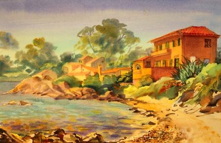 サン ・ トロペ、コートダの建物の水彩画 写真素材