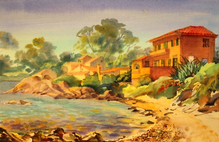provence: Watercolor painting of the building in St. Tropez, Cote d