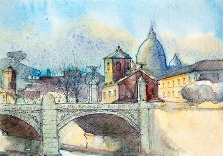 이탈리아 산 피에트로 성당 및 폰테 비토리오 에마누엘레 2, 바티칸, 로마, 수채화 그림. 나는 2003 년에 그렸다.