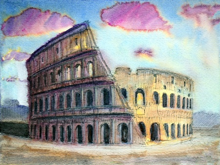 Roman cityscape of the Colosseum painted by watercolor. I painted it in 2004. Stock Photo