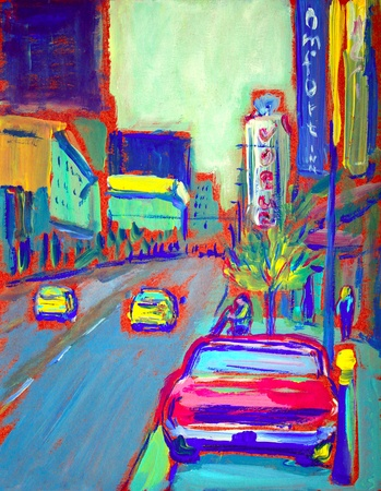 most popular: The drawing of Granville Street - the most popular street in Vancouver . I painted this painting with acrylics in 2010.