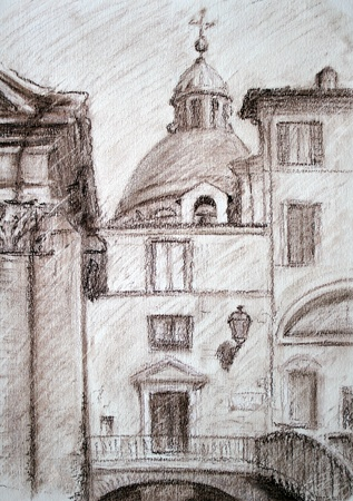 sketch: Roman cityscape painted by sanguine pencil . I painted it in 2002
