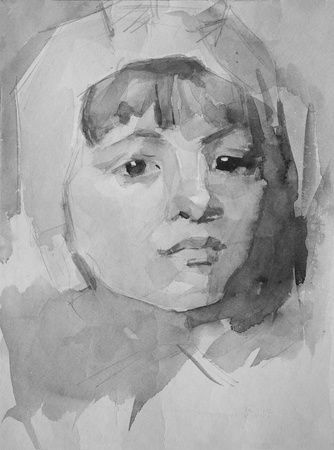 Graphic portrait of a girl painted by pencil and watercolor photo