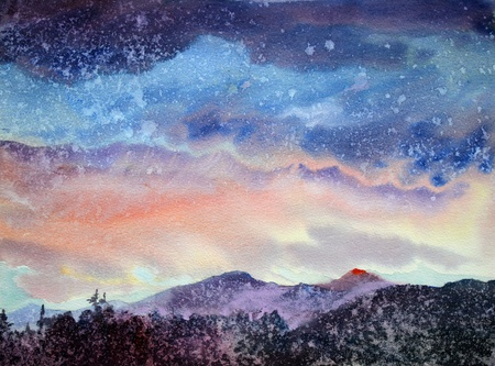 2007 年にロシアのアルタイ山脈水彩画によって描かれた山の風景。