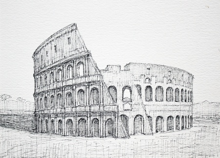 building sketch: Graphic Roman cityscape of Colosseum. I painted it in 2004