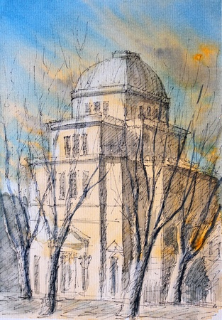 judaism: Watercolor of Roman Synagogue, Rome, Italy. Handmade. I painted this picture in 2003. Stock Photo