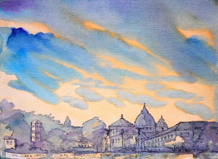 city view: Watercolor of Basilica Sant Pietro,Vatican, Rome, Italy. Handmade. I painted this picture in 2003 Stock Photo