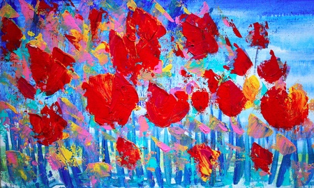 paints: Abstract red flowers painting on canvas with acrylic colours.I paint this picture in 2010. Stock Photo
