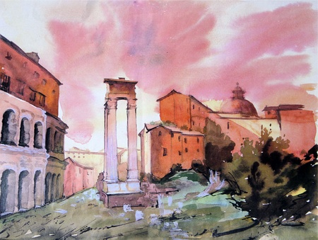 Hand Painted watercolor illustration of the Theatre of Marcellus in Rome.  Stock Photo