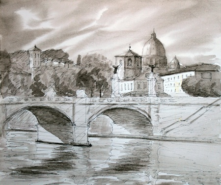 roma: Basilica Sant Pietro and Ponte Vittorio Emanuele 2 ,Vatican, Rome, Italy, painted by watercolor. I painted it in 2004