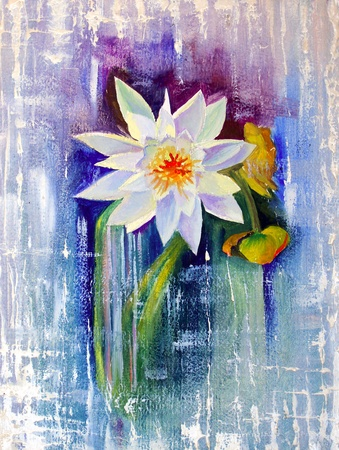 Water Lily painted with oil on cardboard. photo
