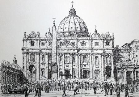 손으로 그리는 그래픽 : 산 피에트로 성당과 성 베드로 광장, 바티칸, 로마. 예술은 작가에 의해 만들어진 그린.