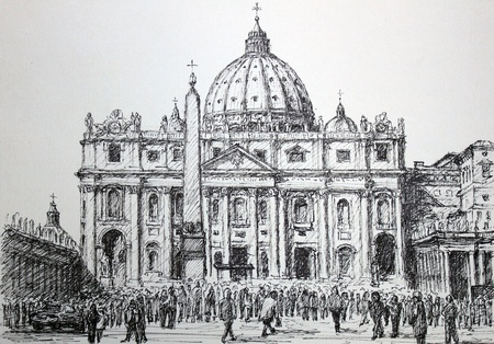 pietro: Handpainted graphic illustration: Basilica Sant Pietro and Piazza San Pietro, Vatican, Rome. Art is created and painted by photographer.