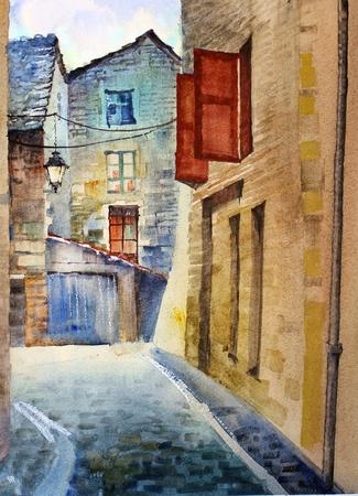 프랑스에서 오래 된 거리의 수채화. 스톡 콘텐츠