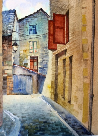 Watercolor of the old street in France. photo