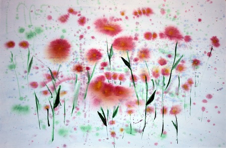 Abstract red flowers painting on paper with watercolors.