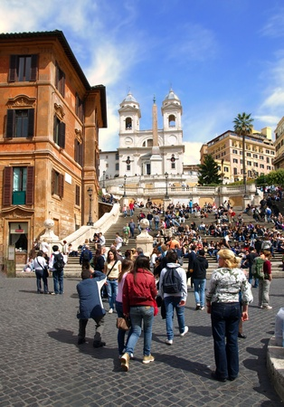 Crowd of people gathered on Holiday on the Spanish Steps on December 24,2011, in Rome, Italy.