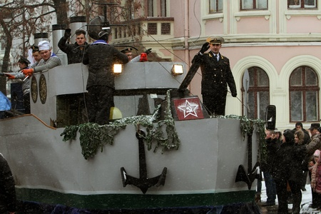 chernivtsi: Naval ship with the sailors and the symbolism of the Soviet Union on Malanka Folk Festival in Chernivtsi, Ukraine on January 15, 2012. Editorial