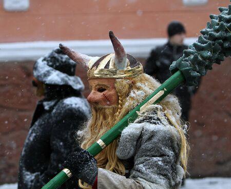 chernivtsi: Man dressed as a viking on Malanka Folk Festival in Chernivtsi, Ukraine on January 15, 2012. Ukraine Editorial