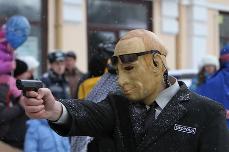 chernivtsi:  A man dressed as a Vladimir Putin on Malanca Folk Festival in Chernivtsi, Ukraine on January 15, 2012. Putin is a politician who served as a second President of the Russia