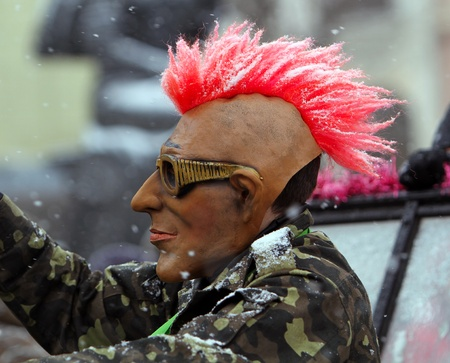 Man dressed in punk mask on Malanca Folk Festival in Chernivtsi, Ukraine on January 15, 2012.Ukraine