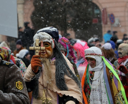 chernivtsi: Dressed people on Malanka Festival in Chernivtsi, Ukraine on January 15, 2012. Ukraines Malanka festival combines various elements of Halloween, Mardi Gras and New Years.