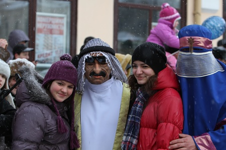 combines: dressed people on Malanka Festival in Chernivtsi, Ukraine on January 15, 2012. Ukraines Malanka festival combines various elements of Halloween, Mardi Gras and New Years.