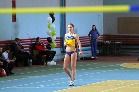 best result: Biruk Tamara wins the high jump competition with her personal best result 1.89 on the International Memorial Demyanyuk track and field meeting, on January 20, 2012 in Lviv, Ukraine