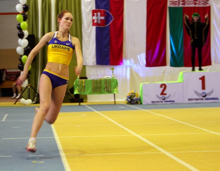 Biruk Tamara wins the high jump competition with her personal best result 1.89 on the International Memorial Demyanyuk track and field meeting, on January 20, 2012 in Lviv, Ukraine
