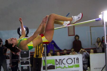 LVIV, UKRAINE - JAN. 20: Dobrynska Viktoriya competes in high jump competition with result 1.86 on the International Memorial Demyanyuk track and field meeting, on January 20, 2012 in Lviv, Ukraine.