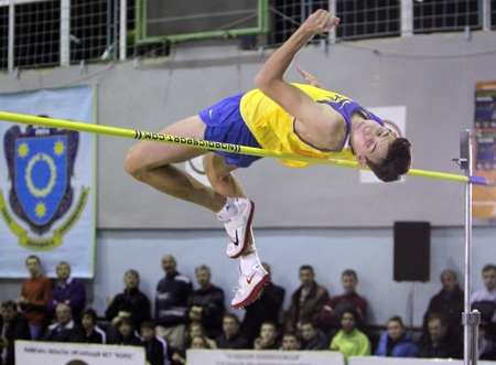 Rubel Andriy competes in high jump competition with result 2.24 on the International Memorial Demyanyuk track and field meeting, on January 20, 2012 in Lviv, Ukraine.