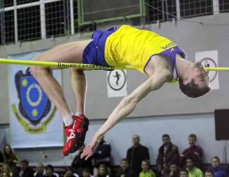 Shapoval Viktor competes in high jump competition with result 2.27 on the International Memorial Demyanyuk track and field meeting, on January 20, 2012 in Lviv, Ukraine.