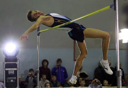 Krymarenko Yuriy the World Champion in Helsinki 2005, compete in high jump with result 2.24 on the Memorial Demyanyuk track and field meeting, on January 20, 2012 in Lviv, Ukraine