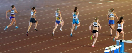 Girls on the 60 meters dash on the Ukrainian Cup in Athletics on January 27, 2012 in Zaporizhia, Ukraine. Editorial